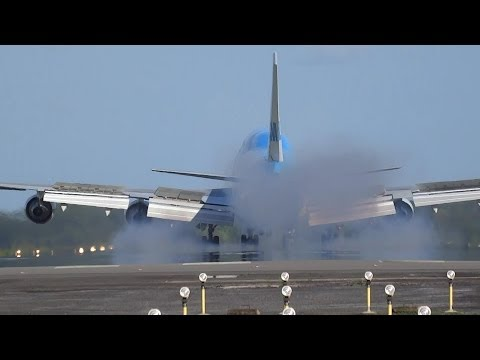 KLM B747 Landing overhead at Johan Adolf Pengel International Airport Suriname