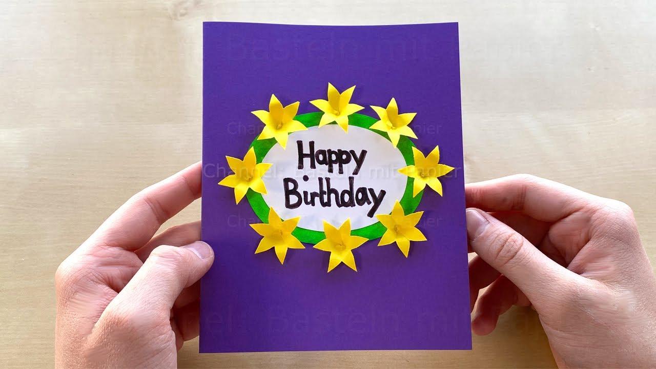 Basteln mit Papier: Glückwunschkarte selber machen. Geschenke zum Geburtstag basteln 🌼