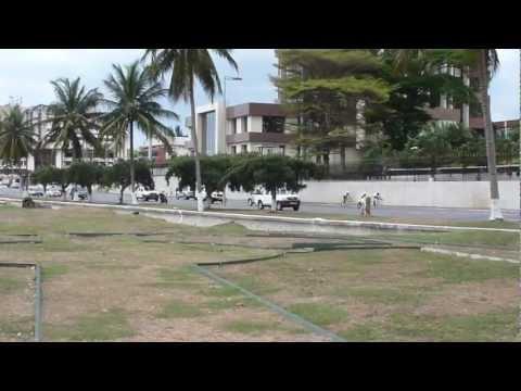 bicycle race along the Atlantic ocean shore in Libreville