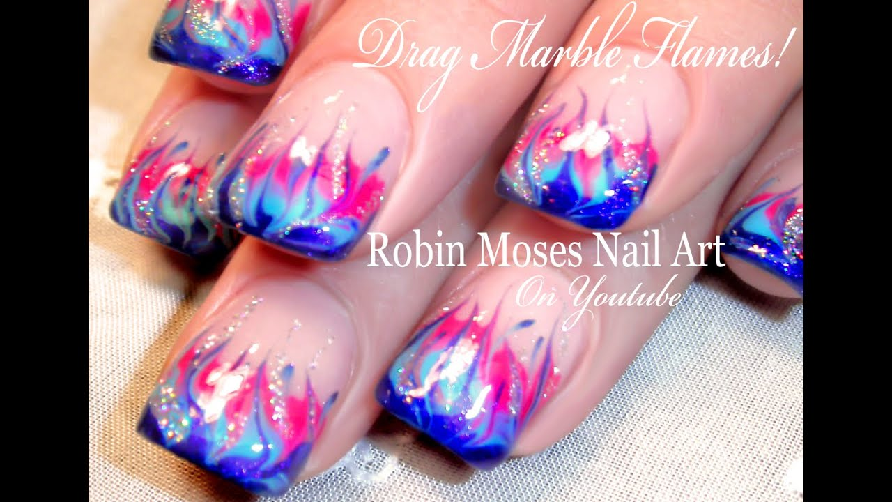 No Water Marble Flame Nail Art Tutorial - YouTube