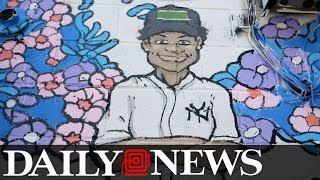 Mural artist paints tribute to Lesandro (Junior) Guzman-Feliz