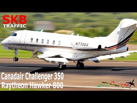 Private Jet Arrivals !!! Challenger 350, Raytheon Hawker 800 arrivals @ St. Kitts Airport