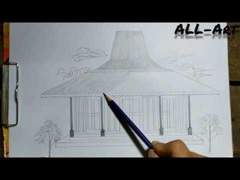 Cara Gambar Rumah Adat Jawa Tengah Rumah Jonglo Youtube