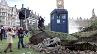 Doctor Who Stars Peter Capaldi And Jenna Louise Coleman At Parliament Square Promoting New Series