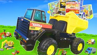 Truck Ride on w/ Excavator, Dump Trucks, Cars & Street Construction Toy Vehicles for Kids