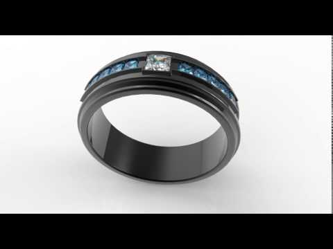 Black Gold Diamond Wedding Ring For A Men-Unique White And Blue Diamonds Ring