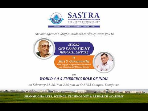 S.Gurumurthy @ SASTRA Univ On World & India 4.0