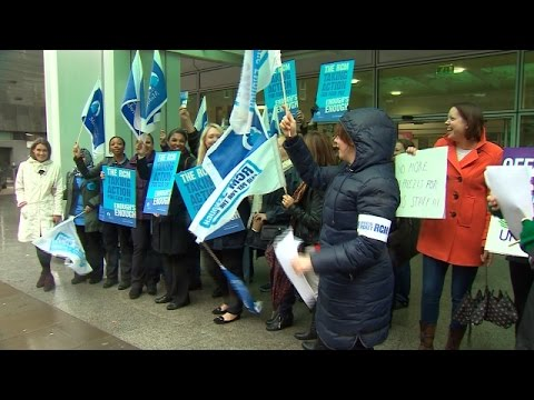 NHS emergency - nurses, midwives and paramedics strike in a dispute over pay