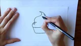Cómo dibujar Un Cupcake o Magdalena Dibuja Conmigo