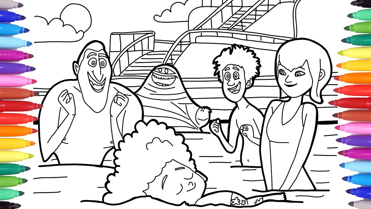 Hotel Transylvania 3 Summer Vacation Dracula Dennis Mavis In The Swimming Pool Coloring Pages