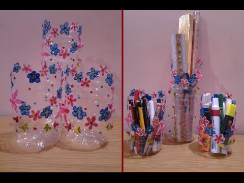 Best out of waste plastic bottle converted to floral table for Waste things art