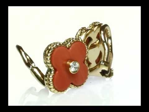 MTSJ12076 - VAN CLEEF & ARPELS Alhambra Coral Diamond Earrings