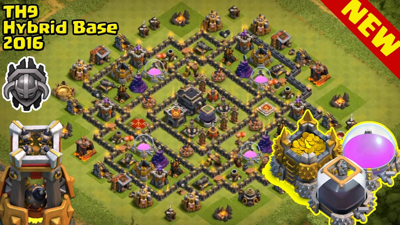 Town hall 9 best hybrid base new update bomb tower th9 anti
