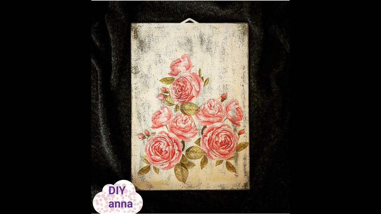 decoupage shabby chic wooden wall decoration DIY ideas craft