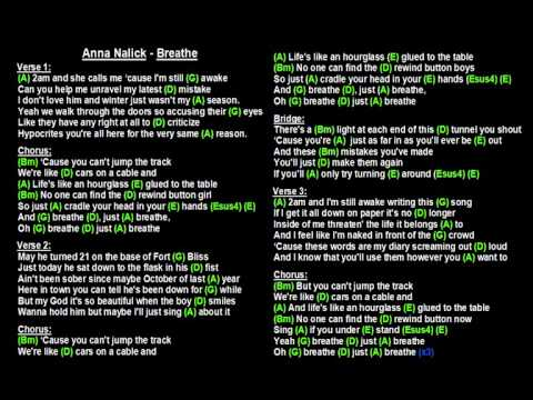 Anna Nalick - Breathe (Backing Track with guitar chords and lyrics)