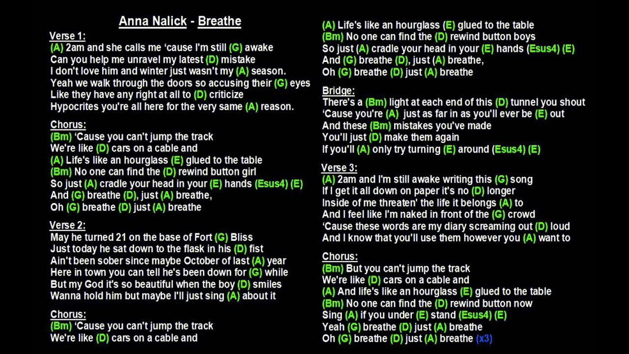 Anna Nalick Breathe Backing Track With Guitar Chords And Lyrics