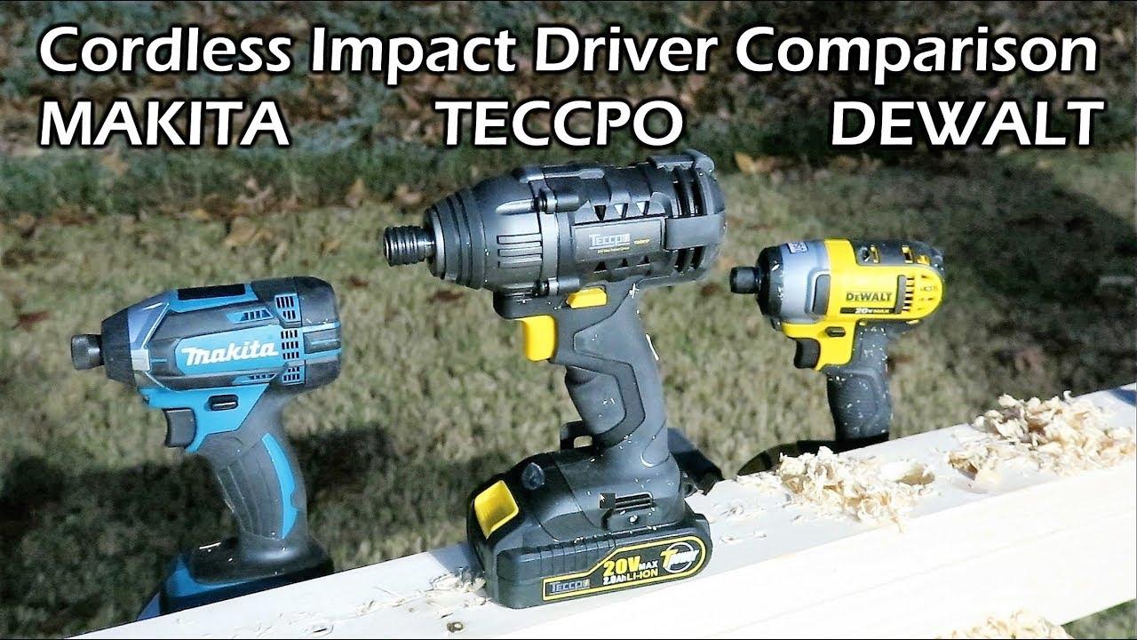 Cordless Impact Driver Comparison Teccpo Dewalt Makita