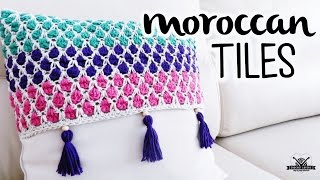 How to crochet MOROCCAN TILES stitch (Moroccan Stitch) ♥ CROCHET LOVERS