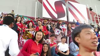 Supporters of South Korea at the AFC Asian Cup UAE 2019, video interrupted by a security person