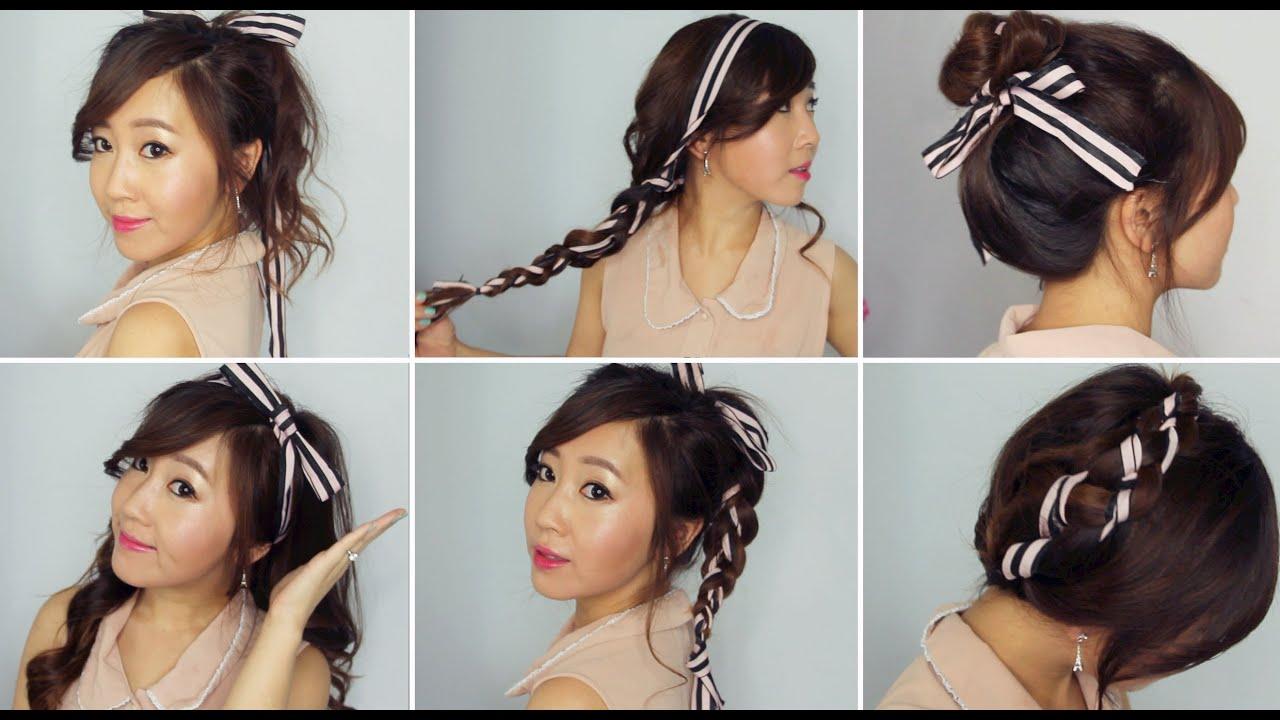 6 easy ribbon hairstyles - youtube