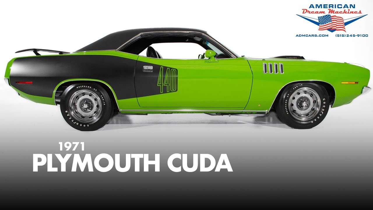 1971 Plymouth Cuda 440 - For Sale - Sassy Grass Green - YouTube