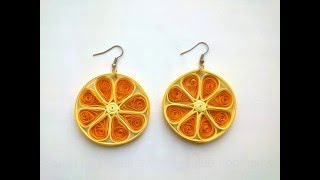 Quilling  Earring designs: How to make Quilling Earrings Oranges.Quilling Earrings Making.