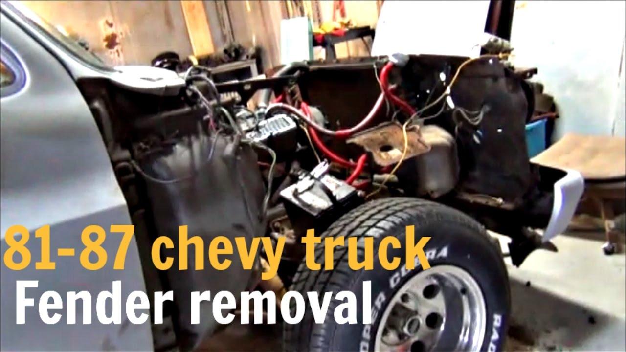 medium resolution of fender removal 81 87 chevy truck