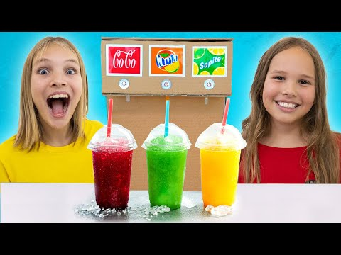 Amelia and Avelina pretend play with frozen drinks