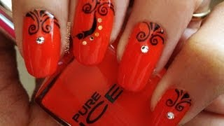 Simple nail art tutorial - Arabesque design