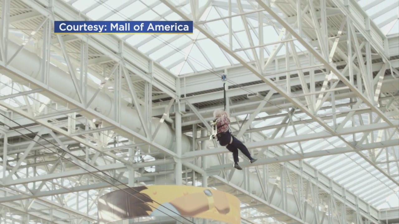 93-Year-Old Takes To Zipline At Mall Of America - YouTube