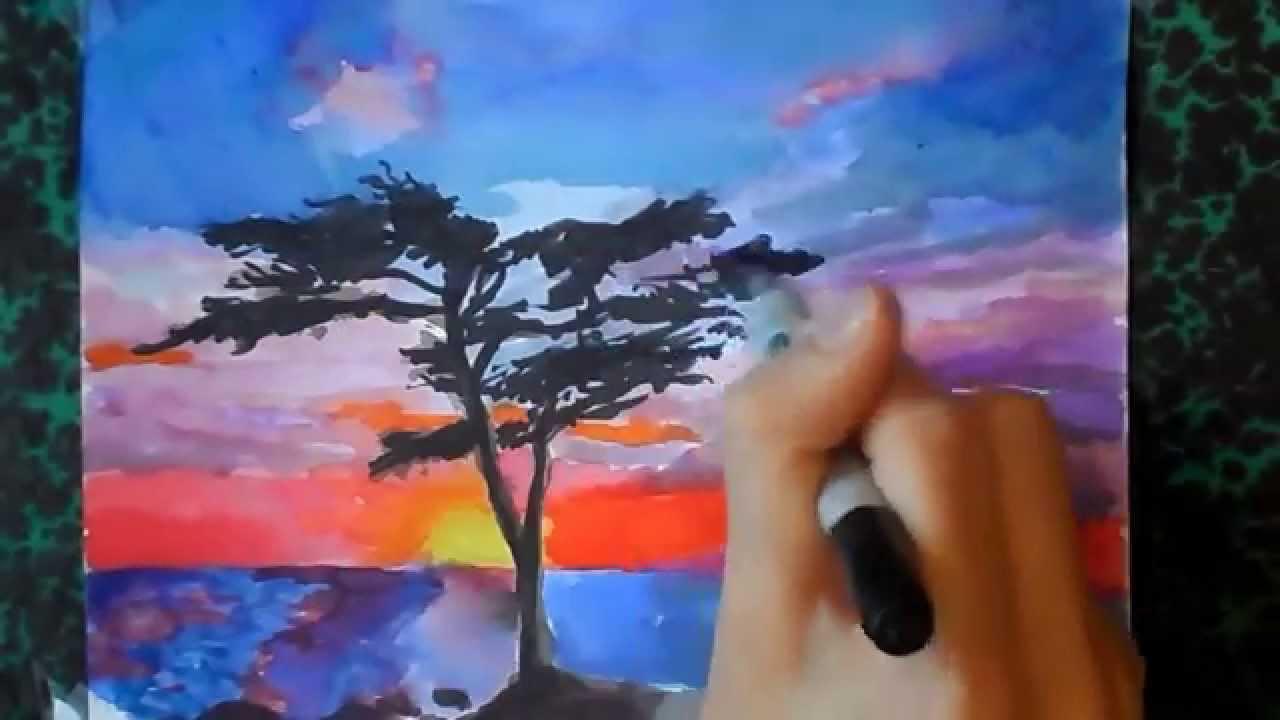 Un coucher de soleil en dessin youtube - Dessin coucher de soleil ...