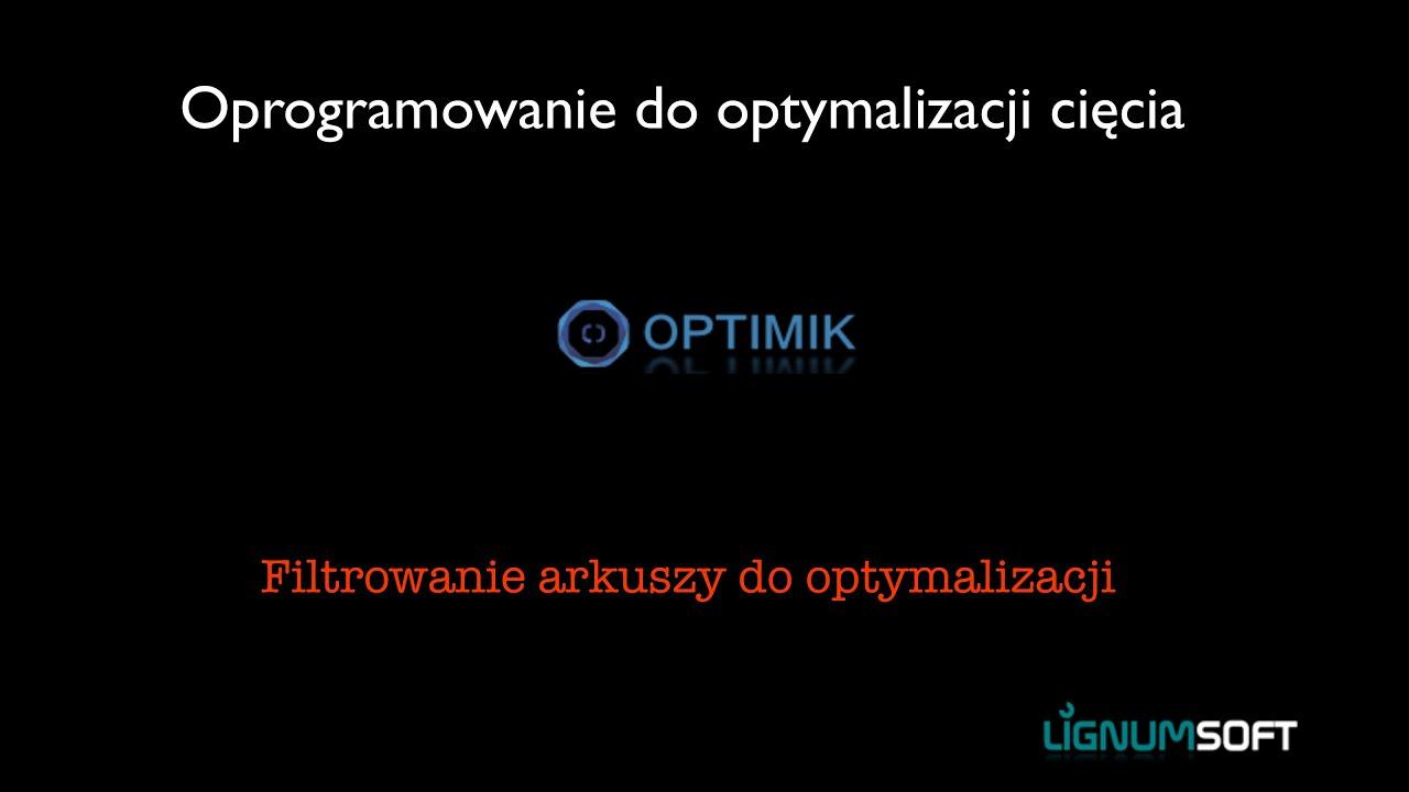 Optimik - Filtrowanie arkuszy do optymalizacji