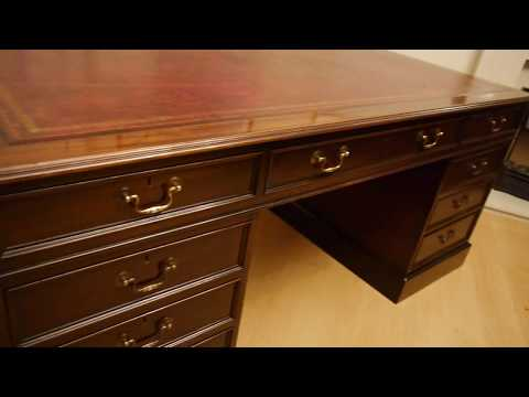 Large Reproduction Antique Mahogany Twin Pedestal Writing Desk Red Leather Top