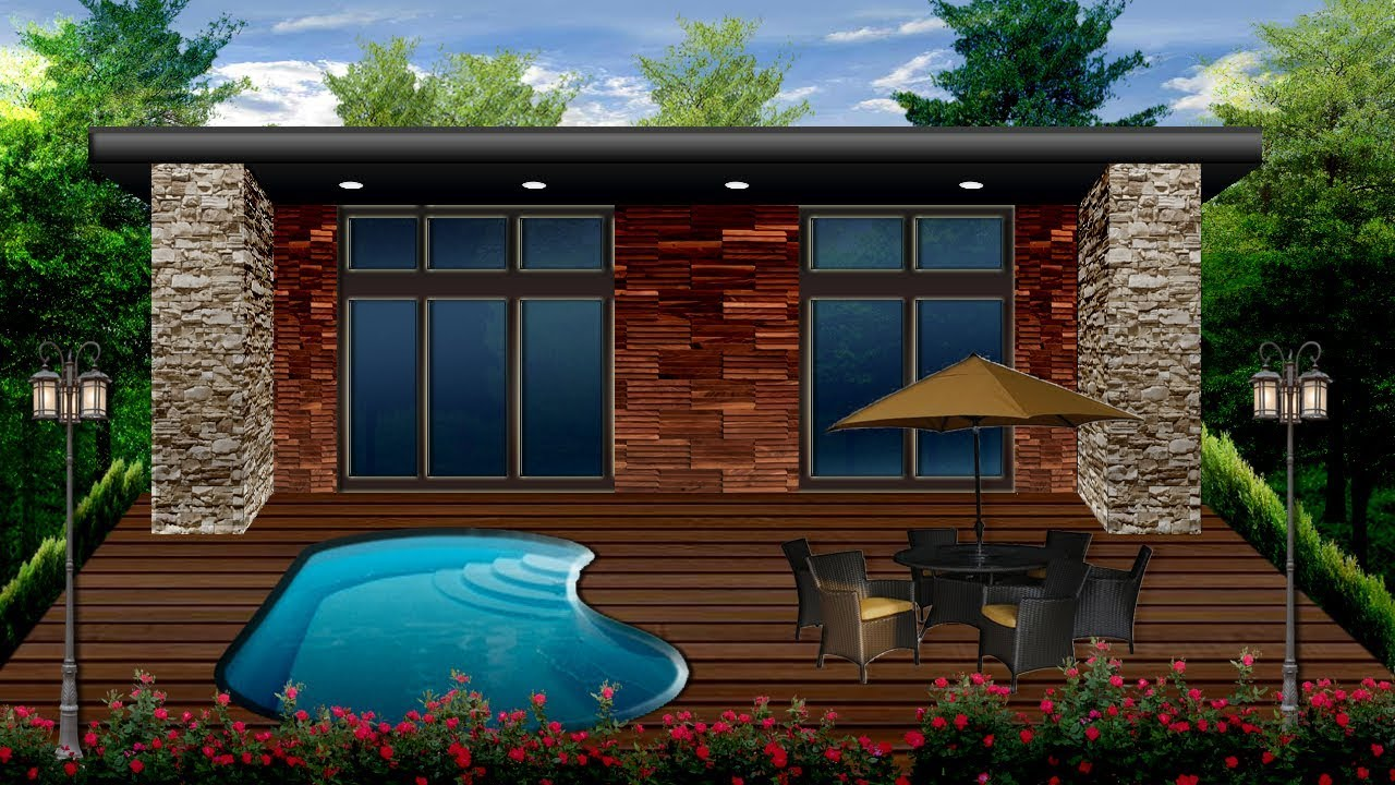 Serene Tiny Cottage Home Exterior Outdoor Garden Pool ...