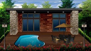 Serene Tiny Cottage Home Exterior Outdoor Garden Pool Patio | Digital Small Home Design Illustration
