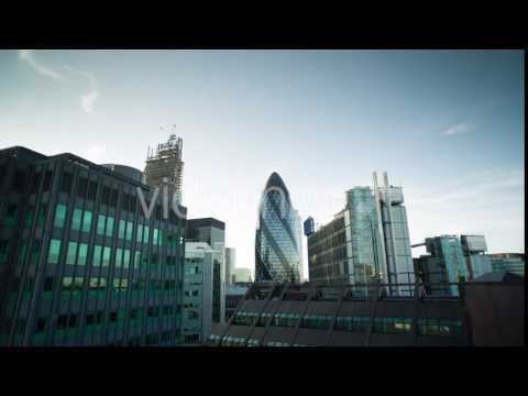 London England Financial Center Business Skyline At Night (Stock Footage)