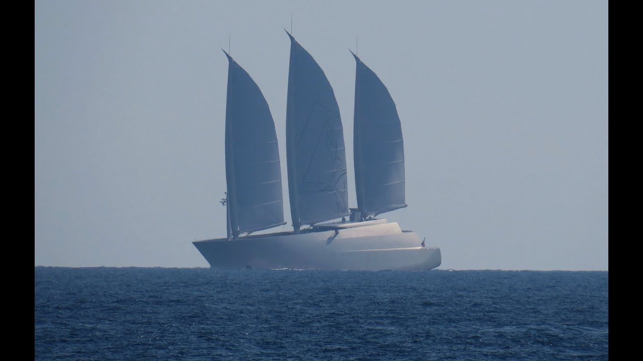 Sailing Yacht A with her sails set