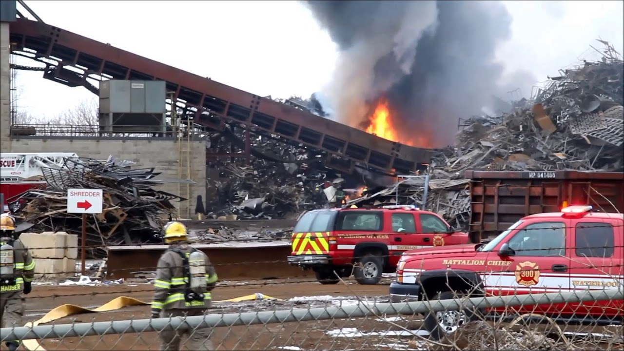 Recycling fire, Airline Highway, Waterloo, Iowa Jan. 24, 2018