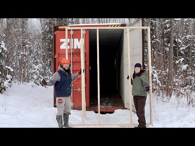 Framing our OFF-GRID Shipping Container CABIN on the COLDEST Day of the YEAR - NOT a GOOD IDEA!!