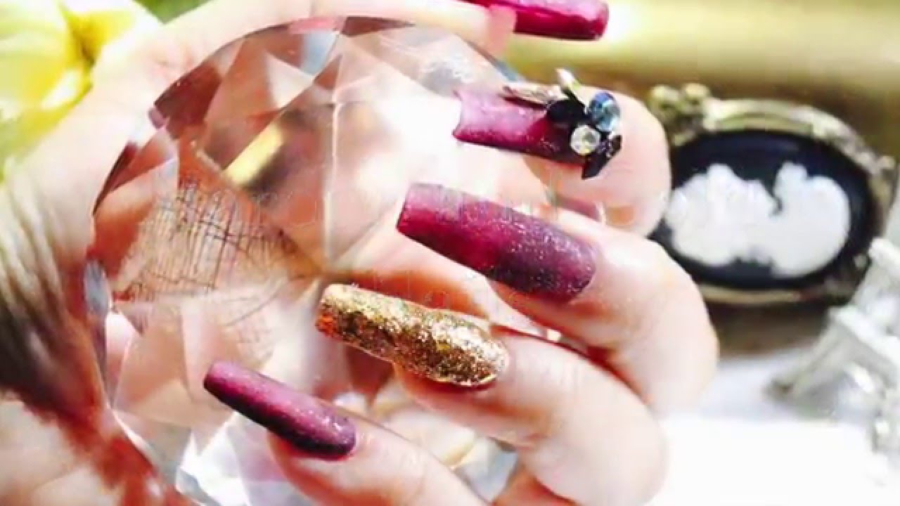 HOW TO:Make Acrylic nails in Maroon and Gold Color - YouTube