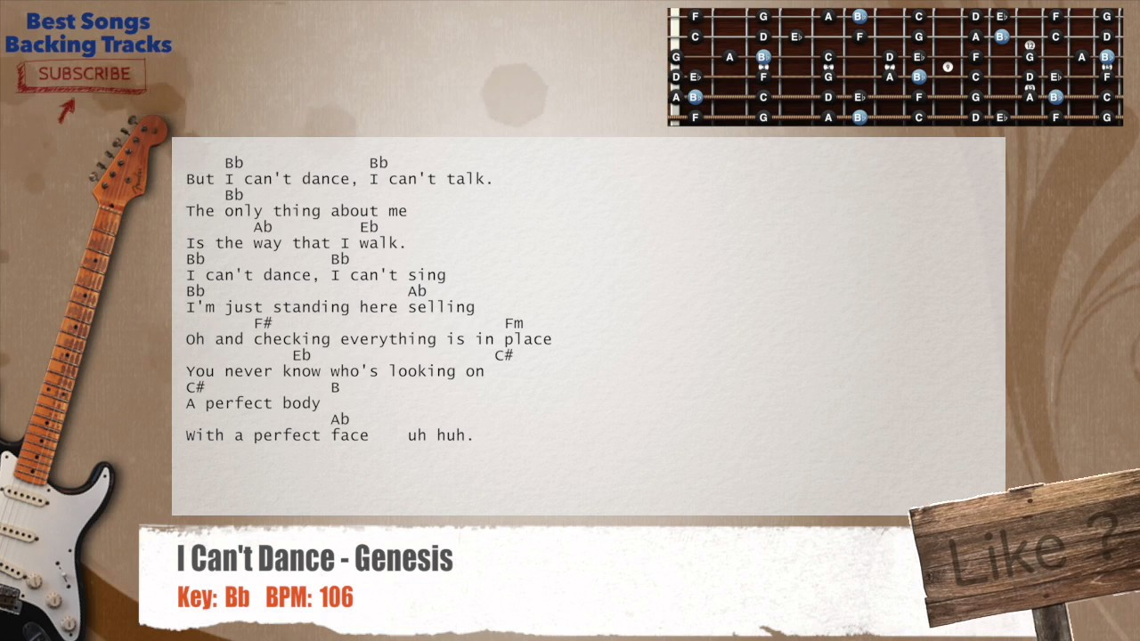 i can 39 t dance genesis guitar backing track with chords. Black Bedroom Furniture Sets. Home Design Ideas
