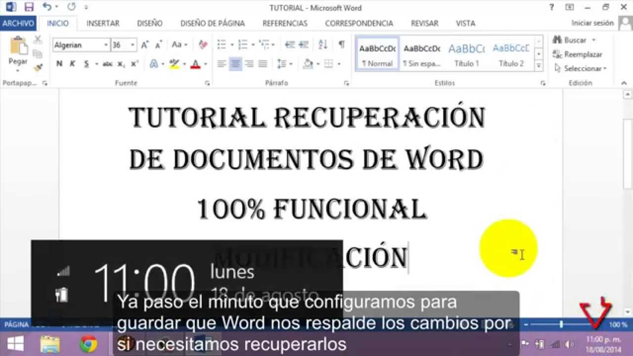Recuperar cambios y documentos de Word 2013 - YouTube