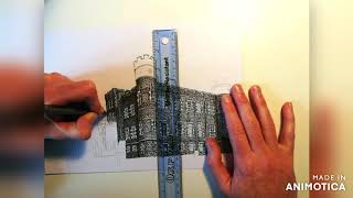 Stobo Castle time lapse drawing