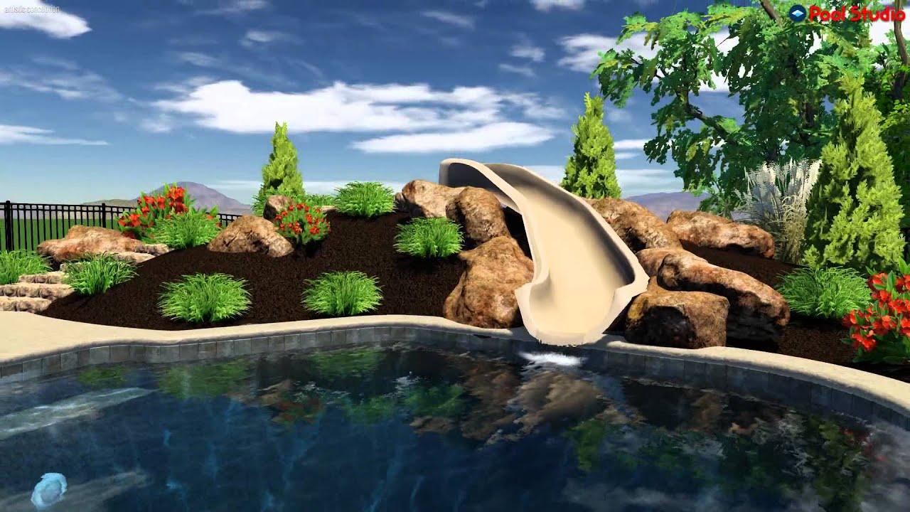 3d Salt Water Pool Design With Custom Slide In Bucks County
