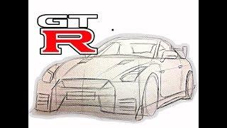 Como Dibujar un Auto NISSAN GTR / Mi secreto para dibujar ?