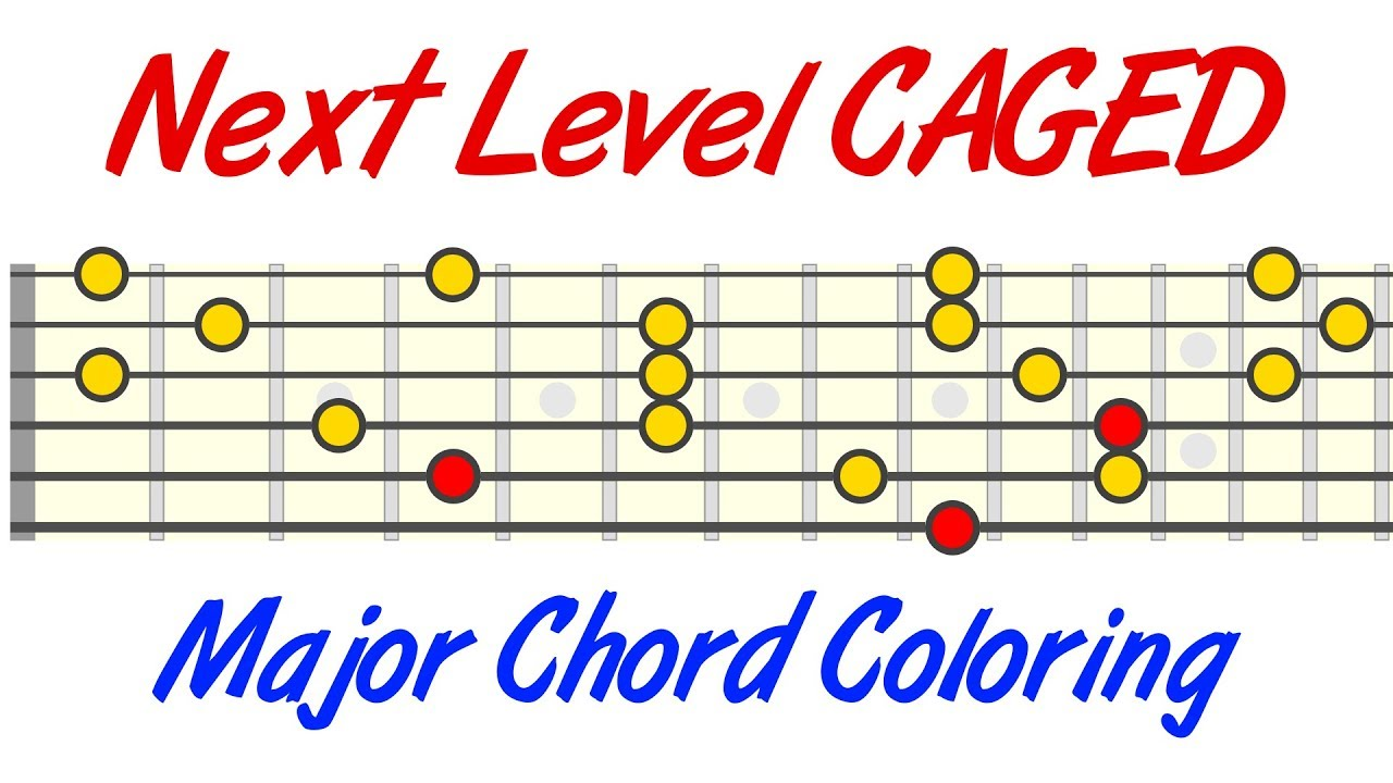 next level caged guitar major chord coloring youtube. Black Bedroom Furniture Sets. Home Design Ideas
