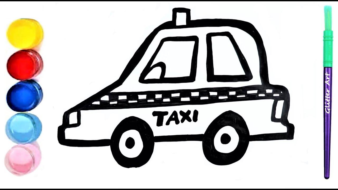 Taxi Coloring pages for kidsTaxi zeichnen Malvorlage für Kinder GlitterArt