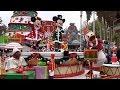 Disney's Christmas Parade 2018 at Disneyland Paris with Goofy, Mickey, Minnie, Donald, Duffy +