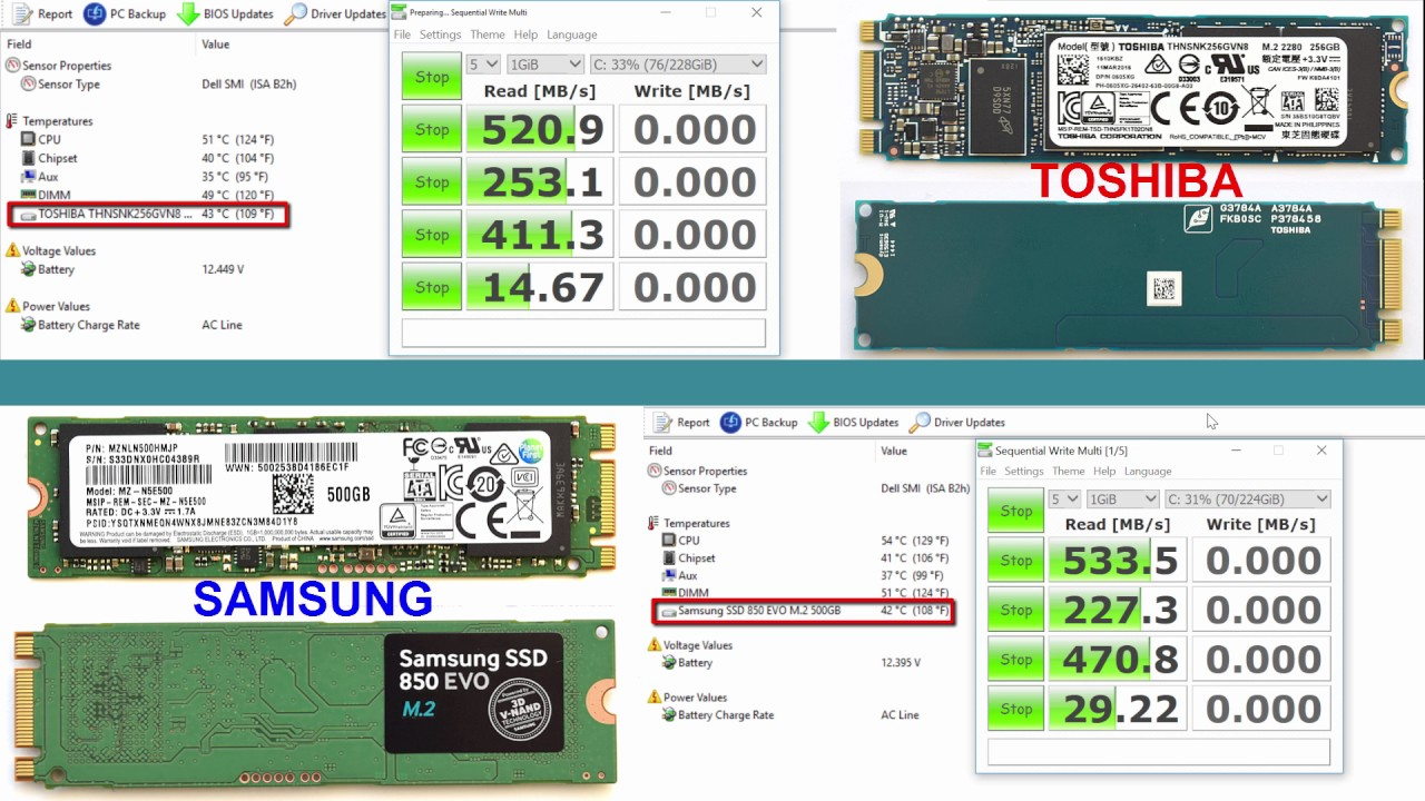 Performance test speed & temperature SSD Toshiba vs Samsung M 2 drives
