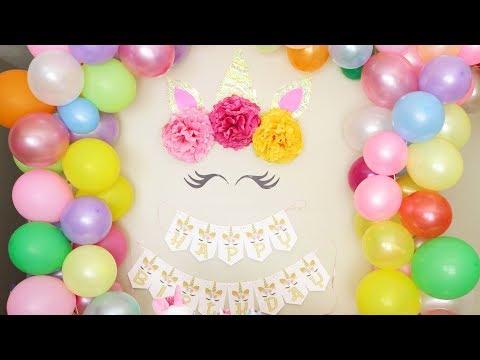 DIY Unicorn Theme Birthday Decoration   Kids Birthday Party Decoration Ideas   Easy Balloon Garland